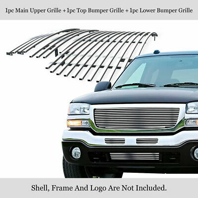 $98 • Buy Fits 2003-2006 GMC Sierra 1500/2500/3500 Stainless Chrome Billet Grille Combo