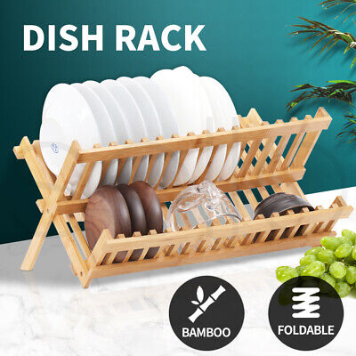 AU21.99 • Buy Dish Rack Bamboo Foldable Drainer Drying Dish Holder Plate Utensil Cultery Tray