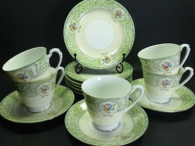 Vintage Noritake Foreign Bone China Part Tea Set Green Floral • 35£