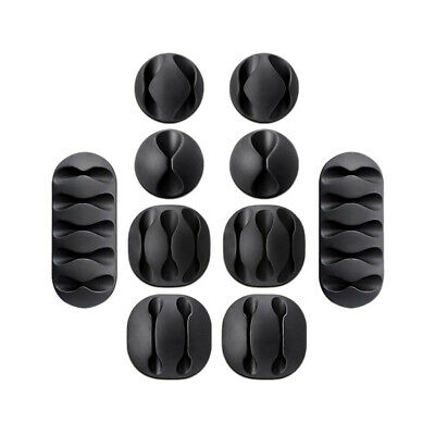 10X Cable Reel Organizer Cord Management Charger Desktop Clip Wire Holder Black • 6.29£