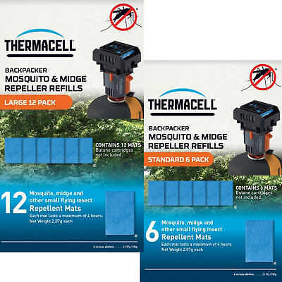 £11.95 • Buy Thermacell Backpacker Mosquito And Midge Repeller Mat-Only Refills 12 Or 6 Pack