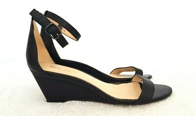 AU30 • Buy NINE WEST Ladies Designer Black Leather Ankle Strap Wedges Size 7M EUC