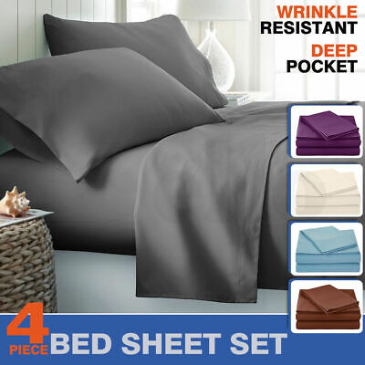 AU24.99 • Buy Ultra Soft 4 Piece Bed Sheets Set Flat Fitted Pillowcase Microfiber Queen King