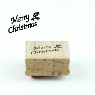 £4.95 • Buy 'Merry Christmas' With Holly Wood Mounted Rubber Craft Stamp
