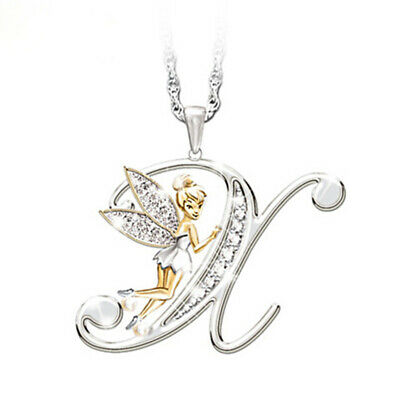 Stunning Tinkerbell Fairy Alphabet Letter  X   Pendant Necklace With Organza Bag • 2.99£