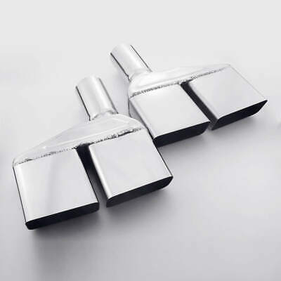 $ CDN157.84 • Buy Square 4 X2  Quad Out Exhaust Tips 2  Inlet Angle Cut Single Wall 11  L SS304