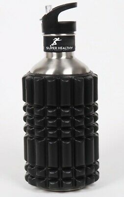 AU33 • Buy EVA Foam Massage Roller Stainless Steel Water Bottle Combo Hydration 1.2L Black