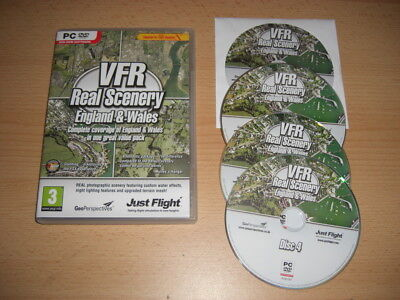 VFR REAL SCENERY England & Wales Vol 1 2 3 & 4 Complete Set Pc DVD Add-On FSX • 29.99£