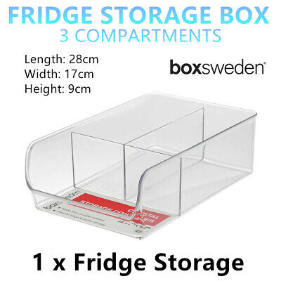 AU16.95 • Buy Clear 3 Compartment Fridge Storage Boxes 28x17cm BPA FREE Acrylic Tray Container