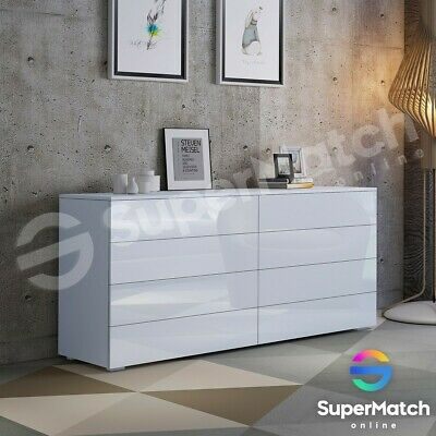 AU289.59 • Buy High Gloss 8 Drawer Chest Dresser Table Storage Cabinet Bedroom Furniture White