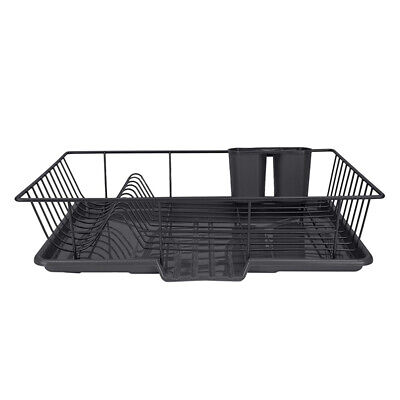 Large Metal Black Kitchen Dish Drainer Rack With Drip Tray And Cutlery Holder GB • 14.94£