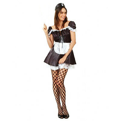 Ladies French Maid Fancy Dress Costume Black 1940s WW2 ALLO Outfit NEW 12-14 • 19.99£
