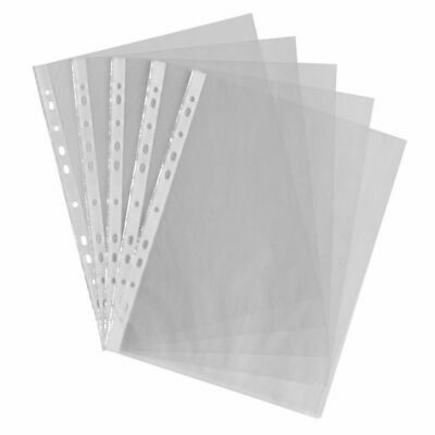 £2.95 • Buy 50  X A4 Plastic Punch Punched Pockets 30 Micron Folders Filing Wallets Sleeves