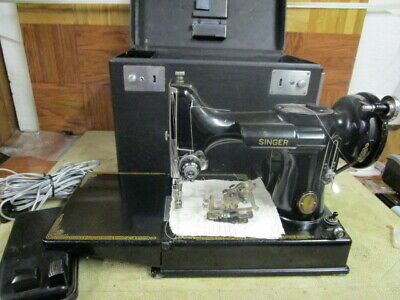 $595 • Buy Vintage Singer Featherweight 221-1 Sewing Machine W/Box And Accessories
