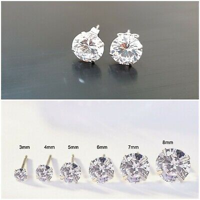 Womens Genuine 925 Solid Sterling Silver Cubic Zirconia Round Stud Earrings    • 2.99£