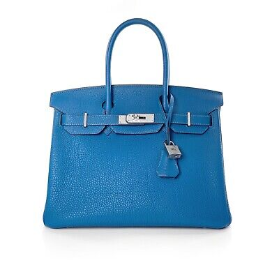 AU17500 • Buy Hermes Mykonos Blue Togo Leather Birkin 30 Bag Handbag Palladium Hardware