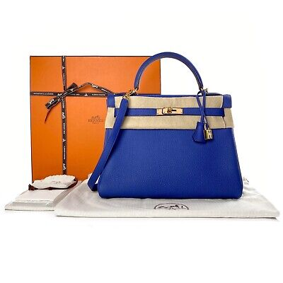 AU19500 • Buy Hermes Blue Electric Togo Leather Retourne Kelly 32 Bag Handbag Gold Hardware