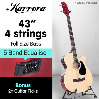 AU123.90 • Buy Karrera 43in 4 String Acoustic Bass Guitar With Electric Pickup Natural