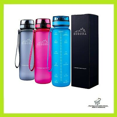 AU35.50 • Buy KOBONA 1 Litre Motivational Smart Water Bottle With Time Markings Hydration