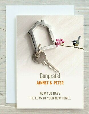 Personalised New Home Card - Congrats New Key To Your New Home/House Warming- 04 • 2.99£