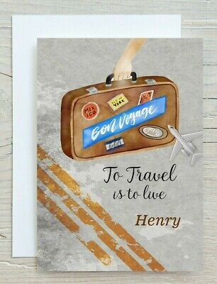 £2.99 • Buy Personalised Bon Voyage Card - Bon Voyage - To Travel Is To Live Good Luck - 01