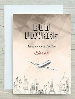 £2.99 • Buy Personalised Bon Voyage Card - Have A Wonderful Time Good Luck Card - 03