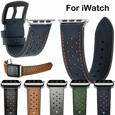 AU21.91 • Buy Genuine Leather Watch Band Double Tour Strap For Apple Watch IWatch Series 3 2 1