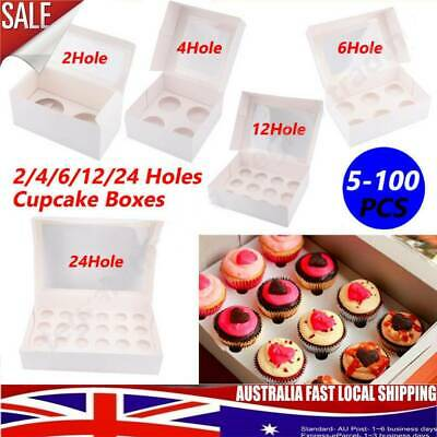 AU13.28 • Buy Cupcake Box 1 Hole 2 Hole 4 Hole 6 Hole 12 Hole 24 Hole And Mini 12, 24 Window