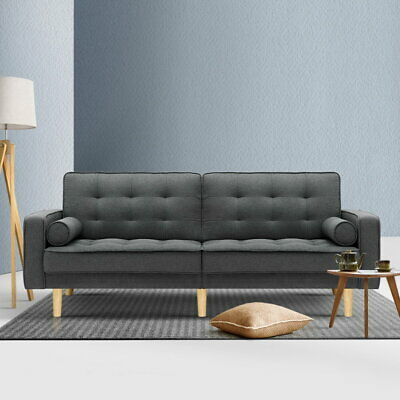AU419.90 • Buy Artiss Sofa Bed Lounge Futon Couch Beds 3 Seater Recliner Fabric Grey 195cm