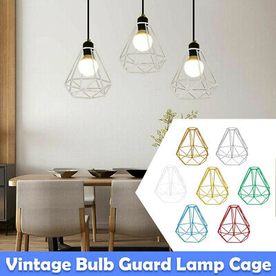 £8.89 • Buy Pendant Light Shade Ceiling Industrial Geometric Wire Cage Lampshade Lamp Metal