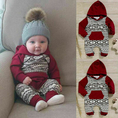 AU21.28 • Buy Newborn Baby Boy Girl Hooded Hoodies Romper Bodysuit Jumpsuit Clothes Outfit