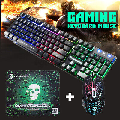AU24.99 • Buy T6 Rainbow Backlight Usb Ergonomic Gaming Keyboard And Mouse Set For PC Laptop