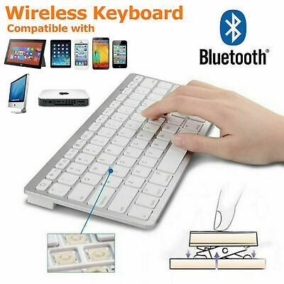 Wireless Bluetooth Keyboard For Apple IMac Android IPad Phone Tablet White Slim • 10.45£