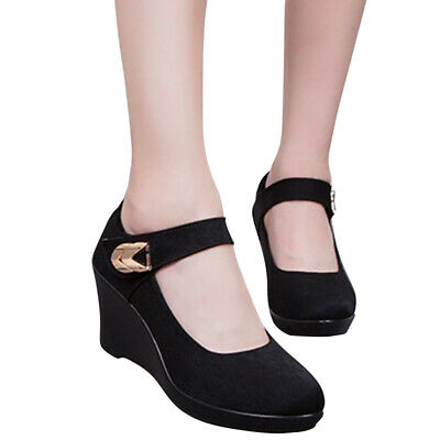 £25.70 • Buy Womens High Wedge Heel Pumps Comfort Casual Work Shoes Round Toe Ankle Strap NEW