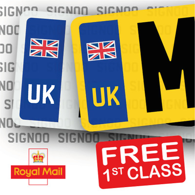 GB CAR NUMBER PLATE STICKERS Union Jack NO EU FLAG BREXIT - 1 Pair • 2.25£