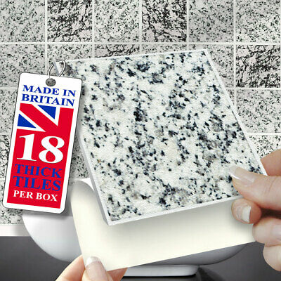 Self Adhesive Wall Tiles | Pk Of 18 Granite Mix 4 X4  Stick On Wall Tiles • 12.99£