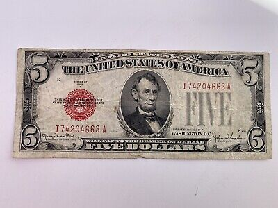$ CDN14.14 • Buy Series 1928 F Red Seal $5 Five Dollar United States US Note Bill Currency
