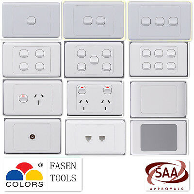 AU37.95 • Buy  Wall Light Switch / Power Point Socket. GPO Outlet(inc 10pk Deal)Plate White