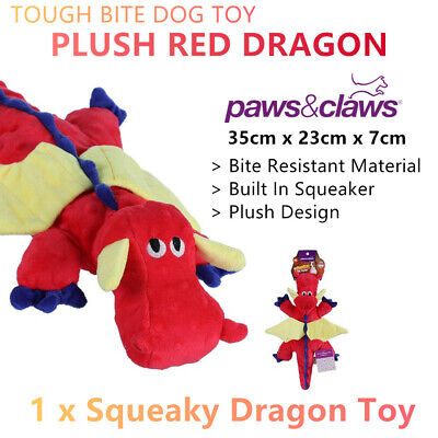 AU19.99 • Buy Tough Squeaky Plush Dog Toys Red Dragon Squeaker Chew Bite Play Puppy Training