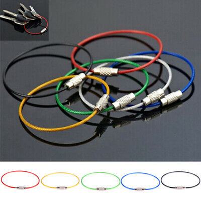 £2.02 • Buy 10Pcs Stainless Steel Keychain Rope Wire Cable Loop Screw Lock Gadget Ri BE