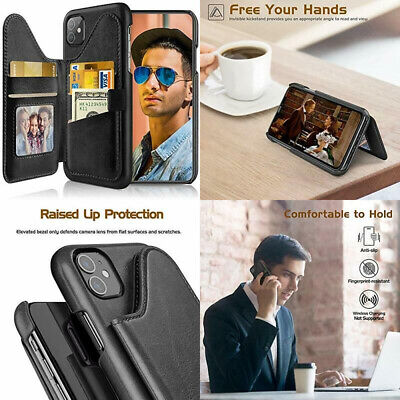 £30.69 • Buy IPhone 11 Wallet Case Leather RFID Blocking Card Holder Flip Stand Cover Black