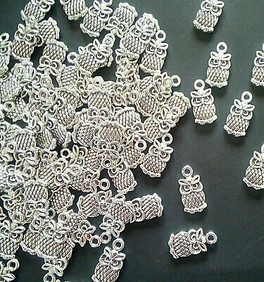 15   Tibetan Alloy Owls Antique Silver Charms  SENT FROM THE UK • 2.10£