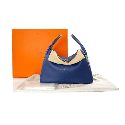 AU6650 • Buy Hermes Blue Sapphire Izmir Eclat Interior Clemence Leather Lindy 30 Shoulder Bag