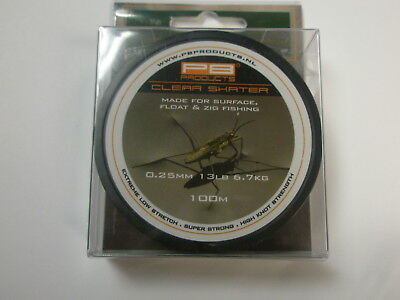 £7.99 • Buy PB Products Clear Skater Zig Surface Line 13lb 0.25mm 100m Carp Fishing Tackle