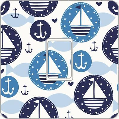 Nautical Blue Boat UK Light Switch Vinyl Sticker Skin Nursery Kids Bedroom LS102 • 1.99£