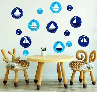 Nautical Wall Stickers Sailboat BEDROOM Wall Art Baby Nursery Vinyl Decal M8 • 6.99£