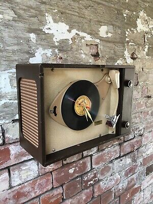 COOL VINTAGE WALL CLOCK MADE FROM 1940s HMV 78 RECORD PLAYER MAN PAD HOT ROD WW2 • 50£