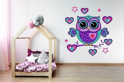 Owl - Hearts And Stars Wall Art Girls Bedroom Sticker Vinyl Decal O1 • 4.99£