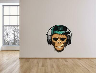 Monkey With Headphones Vinyl Sticker Wall Decal Retro-  B100 • 1.99£