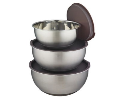 £12.99 • Buy Stainless Steel 3 Piece Mixing Bowls With Lids Nesting Non-slip Mixing Bowl Set